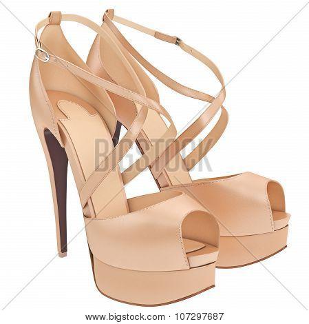 Beige shoes with heels