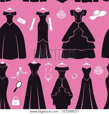 Black party dresses Silhouette seamless pattern.Fashion flat
