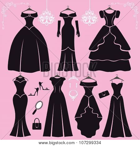 Silhouette of black party dresses,accessories.Fashion flat kit