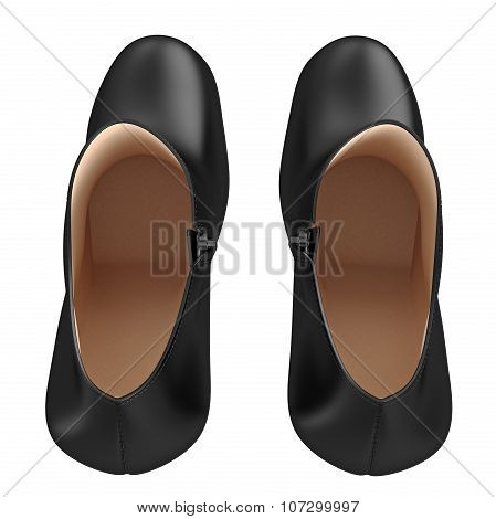 Women's black leather shoes, top view