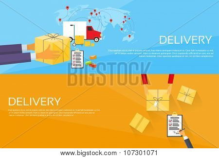 Delivery Service Package Box Receiving Courier Hands
