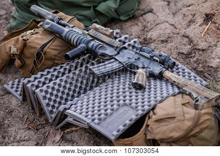 Automatic Rifle With Grenade Launcher on battlefield poster