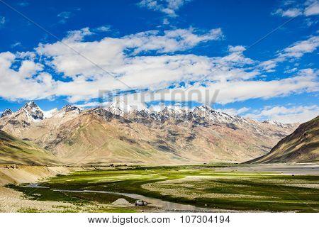 View of Zanskar Valley around Padum villange and great himalayan range- Ladakh Jammu and Kashmir India.