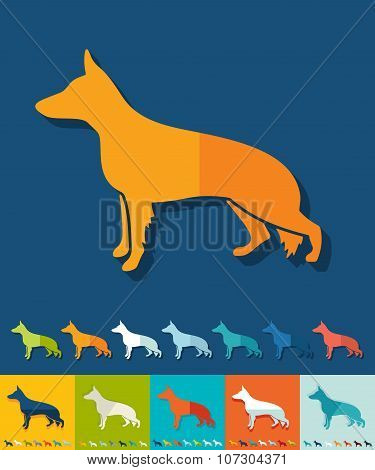 Flat design. german shepherd