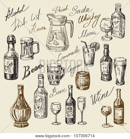 hand drawn beverages sketch