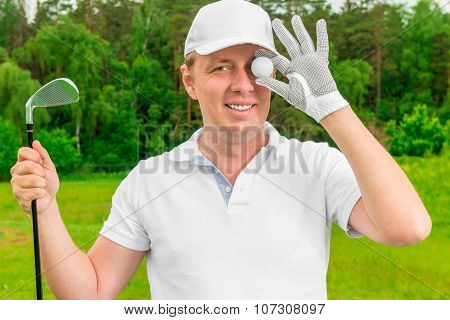 humorous photo golfer with a ball and a golf club poster