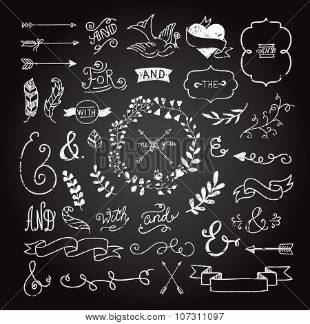 Vintage hipster design elements in hand drawn style: wreaths, arrows, ampersands, plants, ribbons fo