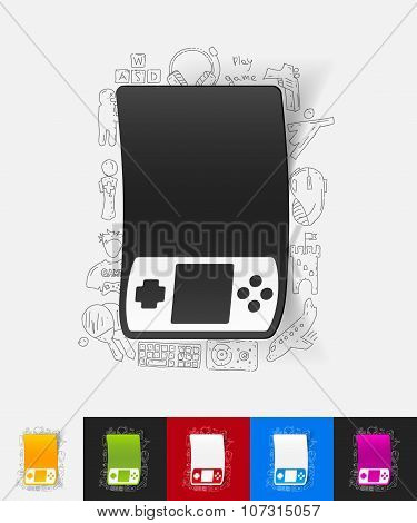 hand drawn simple elements with joystick paper sticker shadow poster