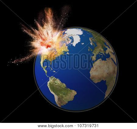 Exploding Earth Isolated On Black Back Ground