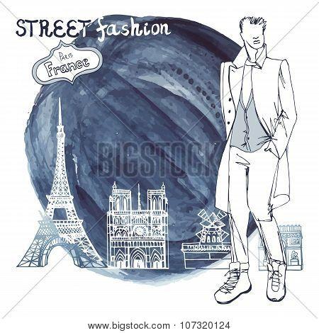 Trendy  dude.Watercolor ink stein.Paris street fashion