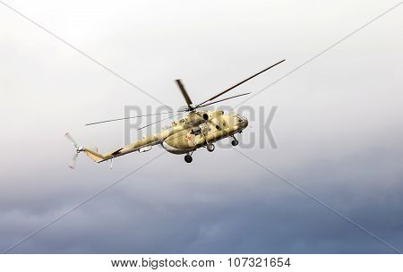 Russian Army Mi-8 Helicopter In Action Against Cloudy Sky
