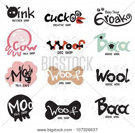 Set retro creative logo and labels for stores in the form of amusing animals.