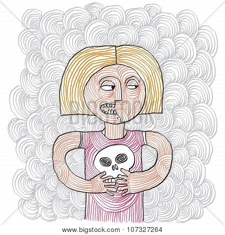 Hand-drawn Angry Girl Holding A Cranium.