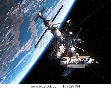 Shuttle And Space Station