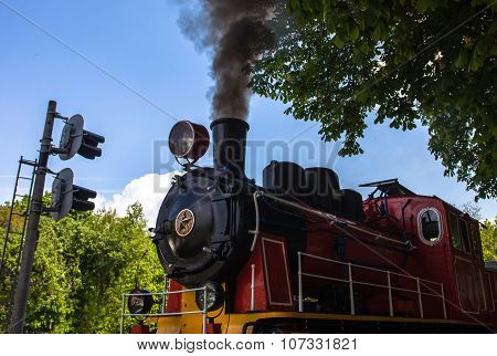 Steam Locomotive Blowing Off The Smoke