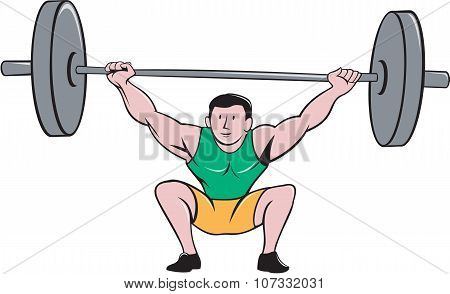 Illustration of a weightlifter deadlift lifting weights viewed from front set on isolated white background done in cartoon style. poster