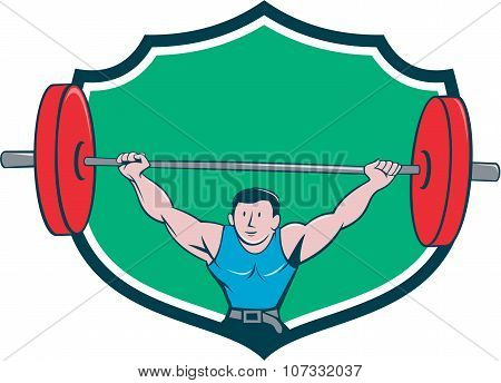 Illustration of a weightlifter deadlift lifting weights viewed from front set inside shield crest on isolated background done in cartoon style. poster