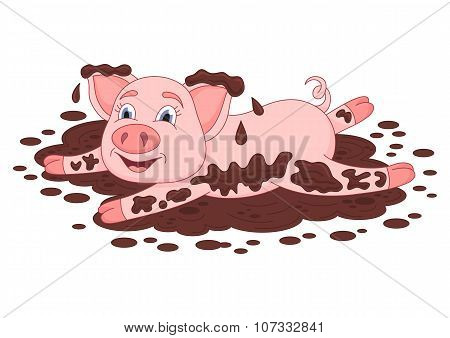 Funny piggy lies and smiling on dirt puddle