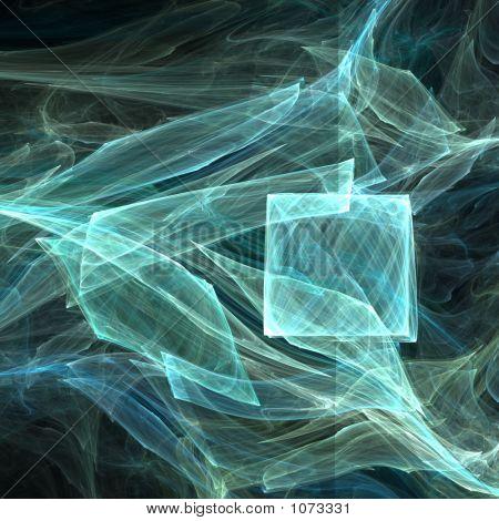 fractal rendering of blue transparent layered waves poster