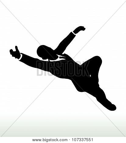 Silhouette Of  Businessman Superman Pose