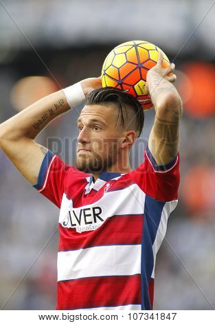 BARCELONA - NOV, 1: Cristiano Biraghi of Granada CF serving a Throw-in during a Spanish League match against RCD Espanyol at the Power8 stadium on November 1 2015 in Barcelona Spain