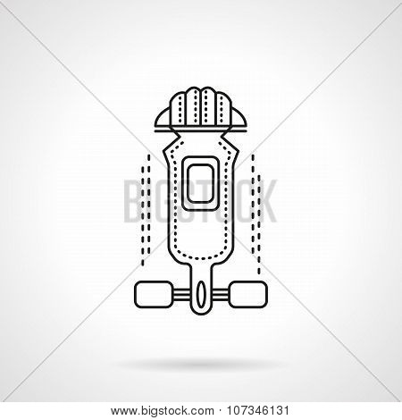 Longboard outfit flat line vector icon