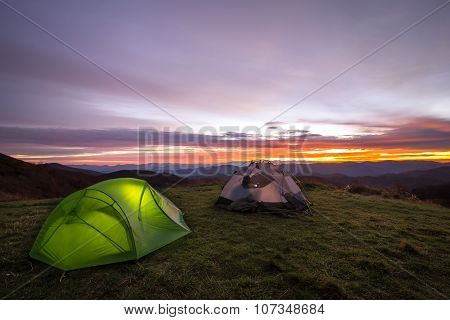 Colorful Sunrise From Camp