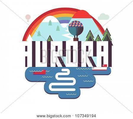 Aurora city travel destination in USA. vector cartoon,