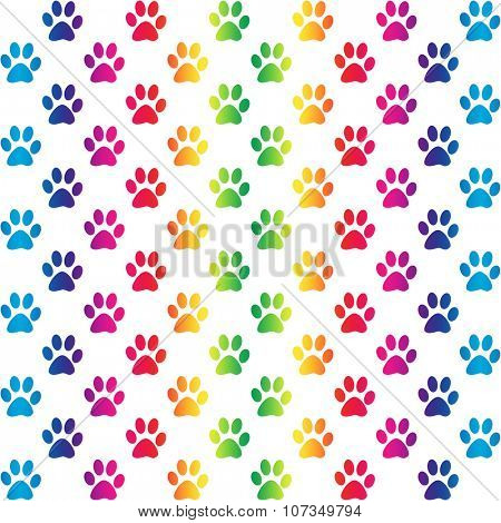 Paw prints in gradient rainbow colors, on white background, a seamless pattern