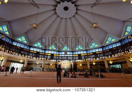 Interior of The National Mosque of Malaysia a.k.a Masjid Negara