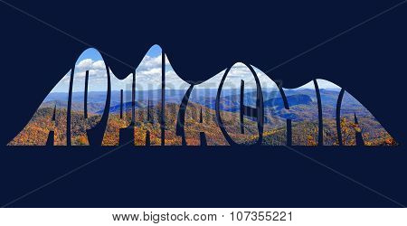 Stylized text forming a picture of the Appalachian Mountains in autumn