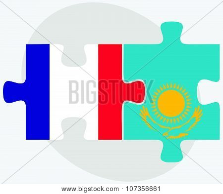 France And Kazakhstan Flags