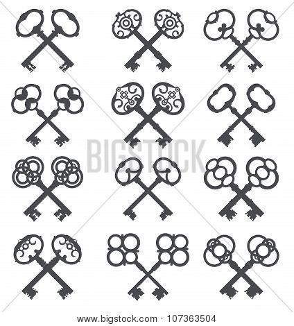 Crossed Keys, Key Icon. Set Silhouettes Of Old Keys