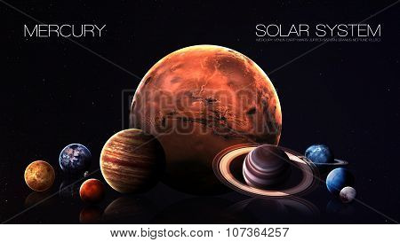 Mercury - 5K resolution Infographic presents one of the solar system planet. This image elements furnished by NASA. poster