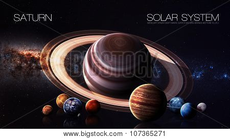 Saturn - 5K resolution Infographic presents one of the solar system planet. This image elements furnished by NASA. poster