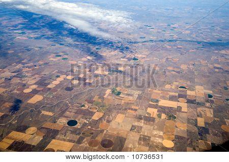 Birds Eye View Of Center Pivot Irrigation Farming