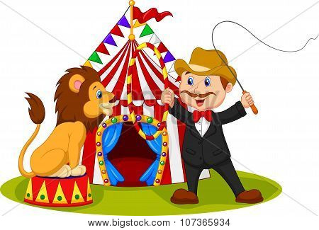 Cartoon lion sitting with circus tent background