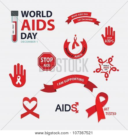 AIDS , vector badges collection. Vector set. Stop AIDS signs set. AIDS red ribbon. AIDS logo collect