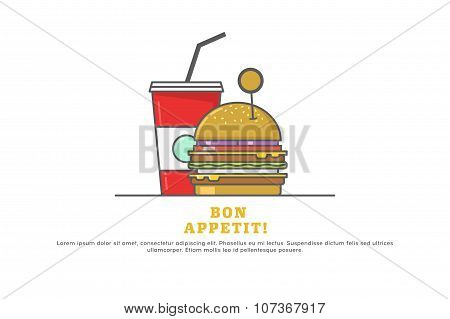 Line Icons With Hamburger And Soda. Stock Vector.