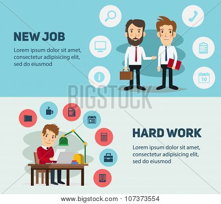 New job search and stress work infographic. Office life business man. People in action. Computer, ta