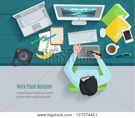 Designer workplace flat with top view woman at table and design gadgets vector illustration poster