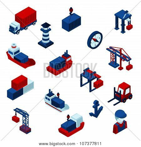 Isometric  Color Seaport Icons  Set