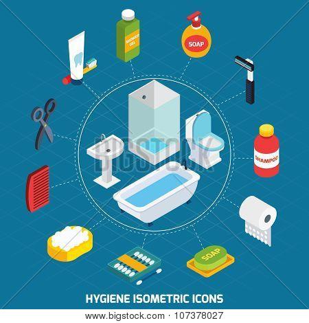 Hygiene Isometric Icons Set
