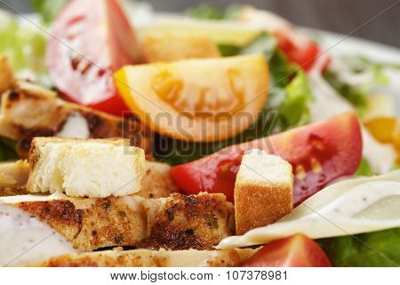 caesar salad with chiken fillet and different color tomatoes