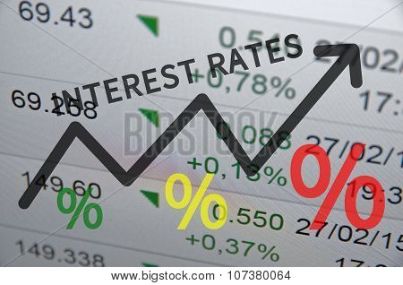Text Interest rates on up trend arrow, with financial data visible on the background. poster