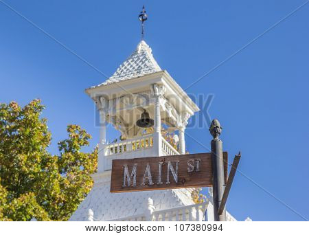 Street Sign In Front Of The Firehouse Of Nevada City