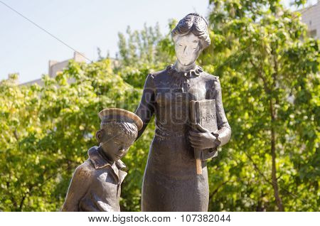 Vandals Painted Over With White Paint Face First Teacher, A Monument To The First Teacher Volgograd