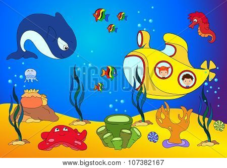 Ocean Inhabitants, Boy And Girl In A Submarine. Octopus, Jellyfish, Starfish, Sea-horse, Reefs, Crab
