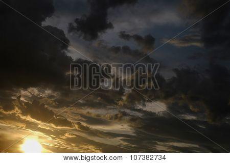 black cloud on sunset dramatic dark sky background poster