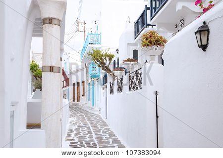 Streetview of Mykonos town, Greece